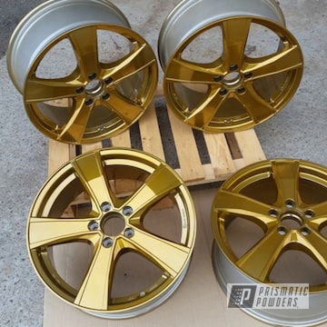 "Powder Coated Gold 20"" Aluminum Wheels"