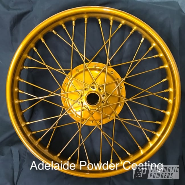 Powder Coating: Wheels,Bicycles,2 Color Application,SUPER CHROME USS-4482,Bike,Brassy Gold PPS-6530,Gold