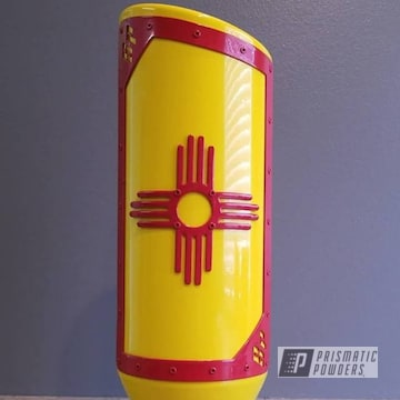 Powder Coated Yellow And Red Automotive Exhaust Tip