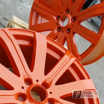 Powder Coated Tangerine 20 Inch Aluminum Wheels