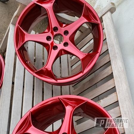 "Powder Coating: DAZZLING RED UPB-1453,Wheels,candy red,Automotive,Aluminum Wheel,20"" Aluminum Wheels"