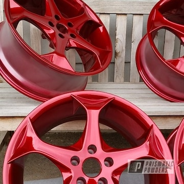 Powder Coated Candy Red 20 Inch Wheels