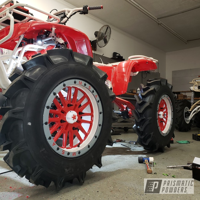 "Powder Coating: Wheels,Honda 300,MSA,ATV,Honda,18"" Wheels,White Valentine PMB-4465"