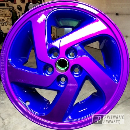 Powder Coating: Wheels,Automotive,Clear Vision PPS-2974,Pontiac Wheels,Powder Coated Wheels,Illusion Blue PSS-4513,Illusion Violet PSS-4514