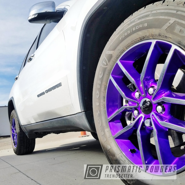 Powder Coating: Illusion Purple PSB-4629,Wheels,Automotive,Clear Vision PPS-2974,GLOSS BLACK USS-2603,Cherokee Wheels,Jeep