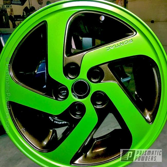 Powder Coating: Wheels,Automotive,Lime Juice Green PMB-2304,Custom Powder Coated Wheels,Pontiac