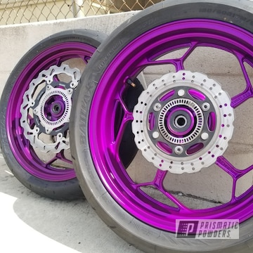 Powder Coated Violet Motorcycle Wheels