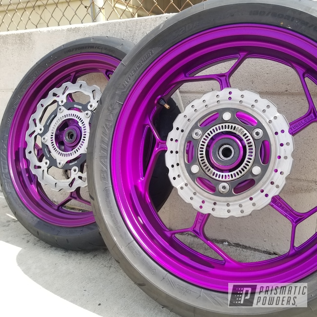 Powder Coating: Wheels,Soft Clear PPS-1334,Motorcycles,Illusion Violet PSS-4514
