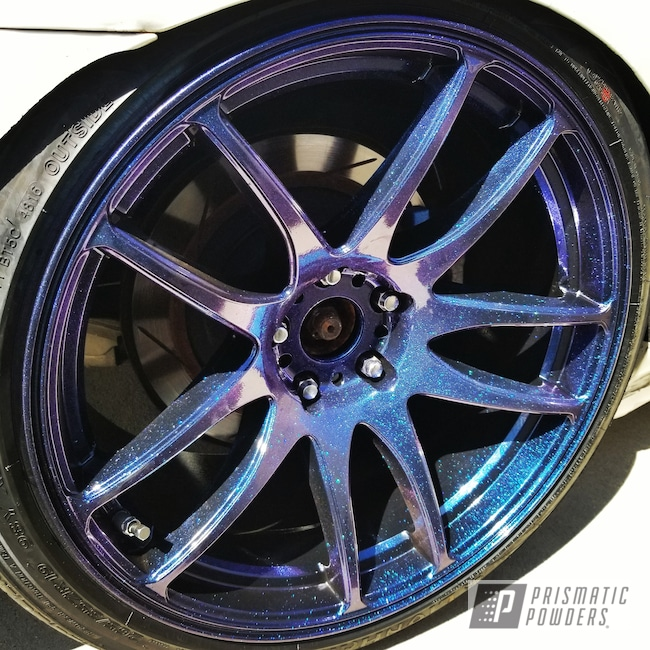 Powder Coating: Wheels,Automotive,Chameleon Sapphire PPB-5729,GLOSS BLACK USS-2603