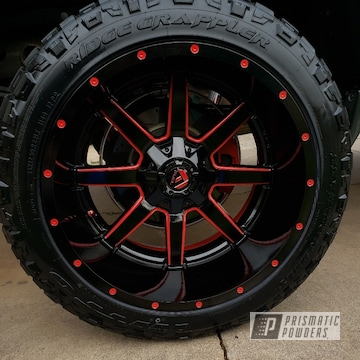 Powder Coated Red And Black Two Toned 22 Inch Fuel Wheels