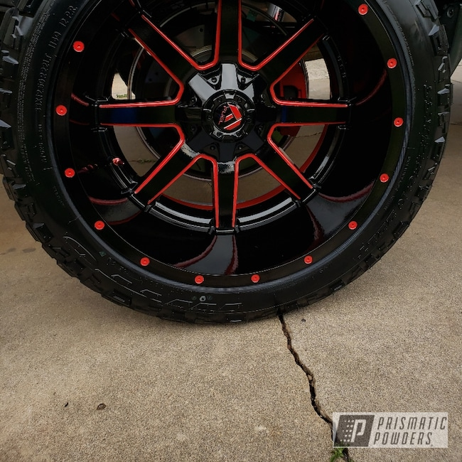 "Powder Coating: Wheels,Automotive,Fuel,22"" Wheels,GLOSS BLACK USS-2603,Two Tone,Very Red PSS-4971"