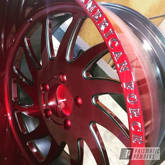 Powder Coated Red Custom American Force Wheels
