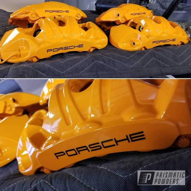 Powder Coating: Automotive,Brakes,Brake Calipers,Porsche,Juju Orange PSS-1791,Custom Brakes