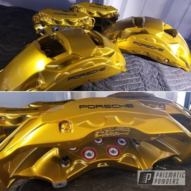 Powder Coating: Automotive,Brakes,SUPER CHROME USS-4482,Brake Calipers,Porsche,Brassy Gold PPS-6530