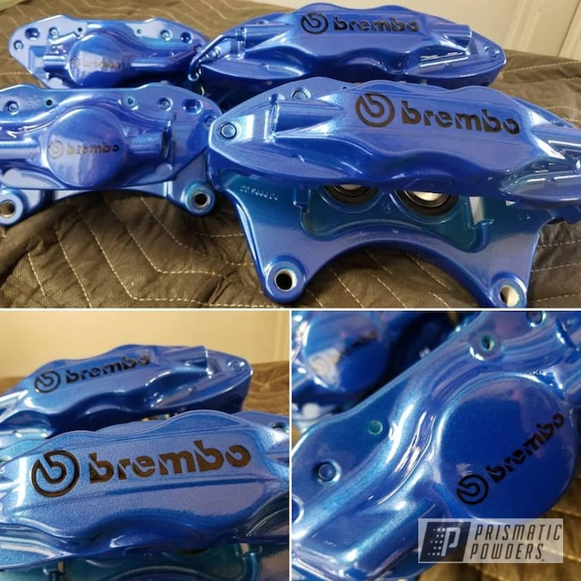 Powder Coating: Automotive,Clear Vision PPS-2974,Brakes,Brembo,Brake Calipers,Illusion Blueberry PMB-6908,Custom Brake Calipers