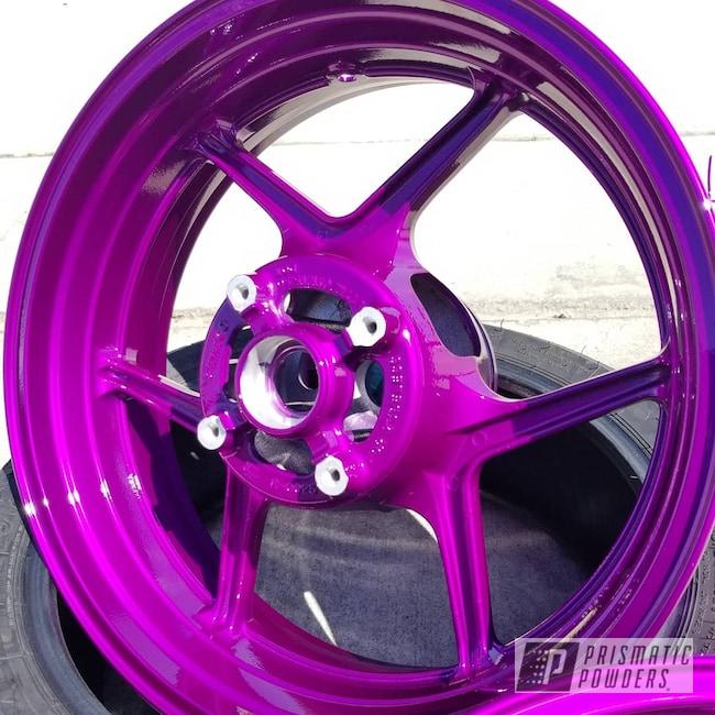"""Powder Coating: Wheels,Kawasaki,Clear Vision PPS-2974,Kawasaki Motorcycle,17"""" Wheels,Motorcycles,Illusion Violet PSS-4514,Powder Coated Kawasaki Ninja Sportbike"""