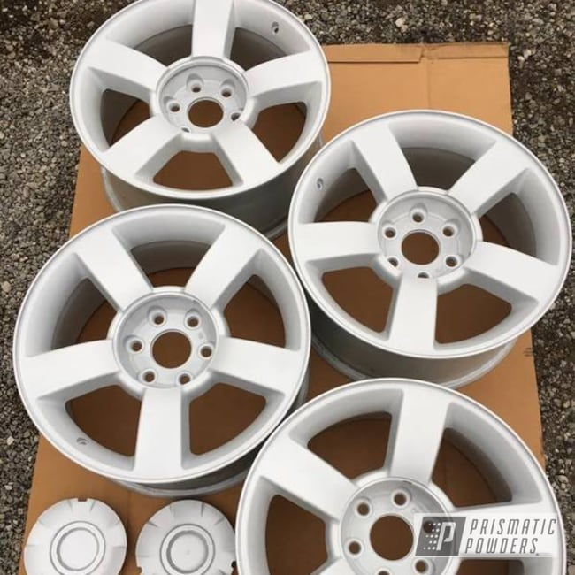 "Powder Coating: Single Powder Application,Wheels,Automotive,20"" Chevrolet Wheels,White Silver Plus PMB-4823"