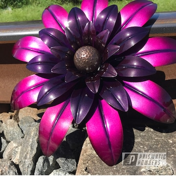 Powder Coated Pink And Purple Metal Flower