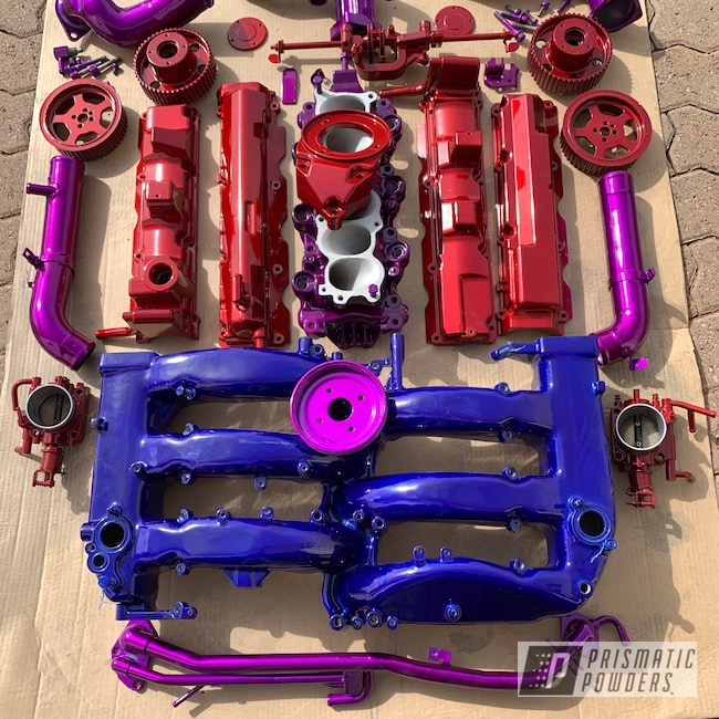 Powder Coating: Automotive,Clear Vision PPS-2974,Nissan,Nissan 300 ZX Engine Parts,Engine Parts,Intense Blue PPB-4474,Illusion Violet PSS-4514,Rancher Red PPB-6415