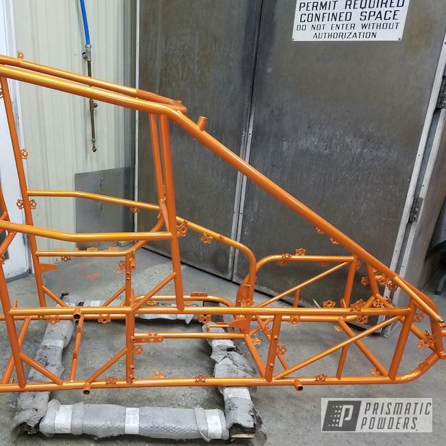 Powder Coating: Automotive,Clear Vision PPS-2974,Custom Frame,Race Car Frame,Race Car,Micro Sprint,Illusion Orange PMS-4620