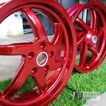 Powder Coated Red Matching Wheels And Valve Cover