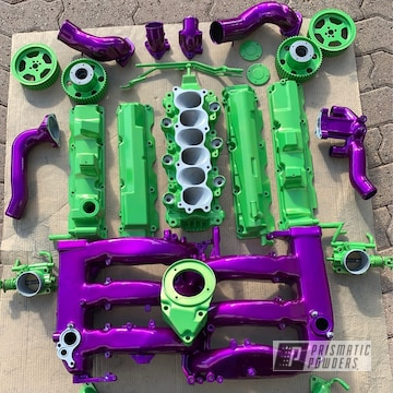 Powder Coated Green And Purple Nissan 300 Zx Engine Parts