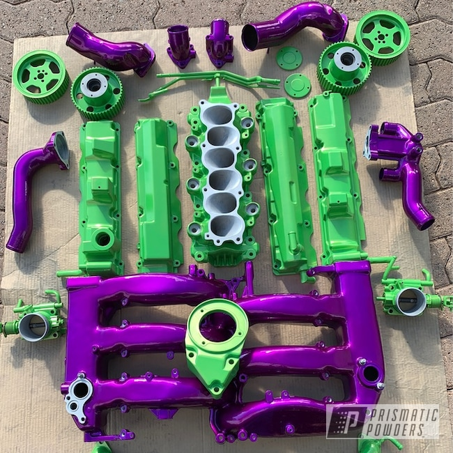 Powder Coating: Automotive,Clear Vision PPS-2974,Nissan,Nissan 300 ZX Parts,Valve Covers,Air Intake,Lime Juice Green PMB-2304,Engine Parts,Illusion Violet PSS-4514,Headers