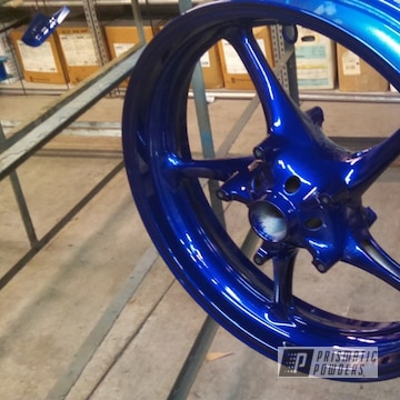 Powder Coated Candy Blue Motorcycle Wheels