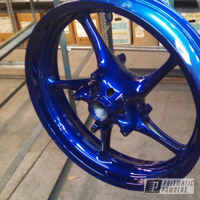 "Powder Coating: Wheels,SUPER CHROME USS-4482,LOLLYPOP BLUE UPS-2502,17"" Wheels,Powder Coated Motorcycle Wheels,Motorcycles"