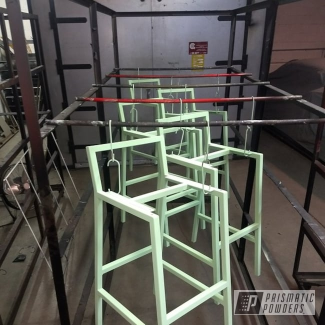 Powder Coated Mint Green Custom Bar Stool Frames