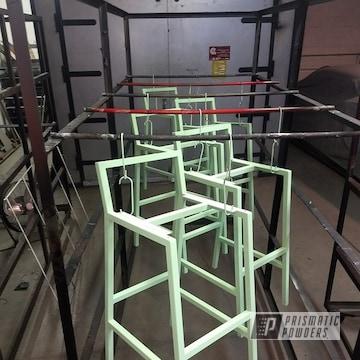 Powder Coated Mint Green Custom Bar Stool Frames