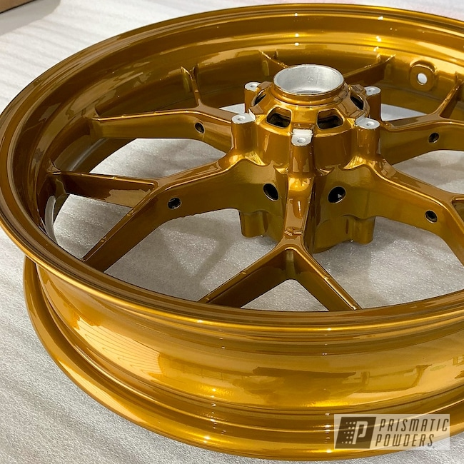 Powder Coating: Wheels,Brassy Gold PPS-6530,Motorcycles,Motorbike