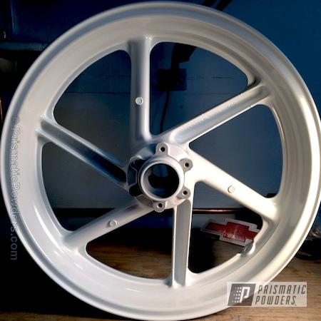 Powder Coating: Wheels,Cream PMB-4331,Motorcycles,Custom Powder Coated Motorcycle Wheel