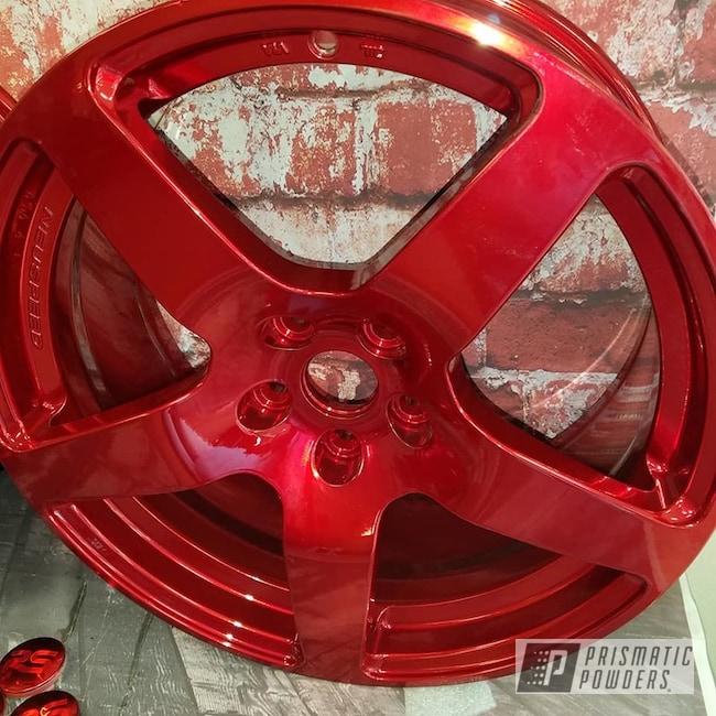 Powder Coating: Wheels,Automotive,Transparent Powder Coating,SUPER CHROME USS-4482,Two Stage Application,Aluminum Rims,Rancher Red PPB-6415