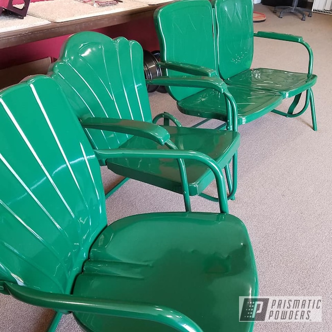 Powder Coating: Vintage Chairs,RAL 6005 Moss Green,Lawn Chairs,Furniture