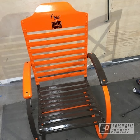 Powder Coating: 2 Color Application,Cleveland Browns,Musket Brown PSB-6897,Just Orange PSS-4045,Lawn Chair,Miscellaneous