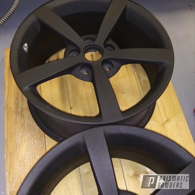 "Powder Coating: Wheels,Automotive,18"" Wheels,Black Cast PCS-4721,Textured Finish,Chevy,Corvette"