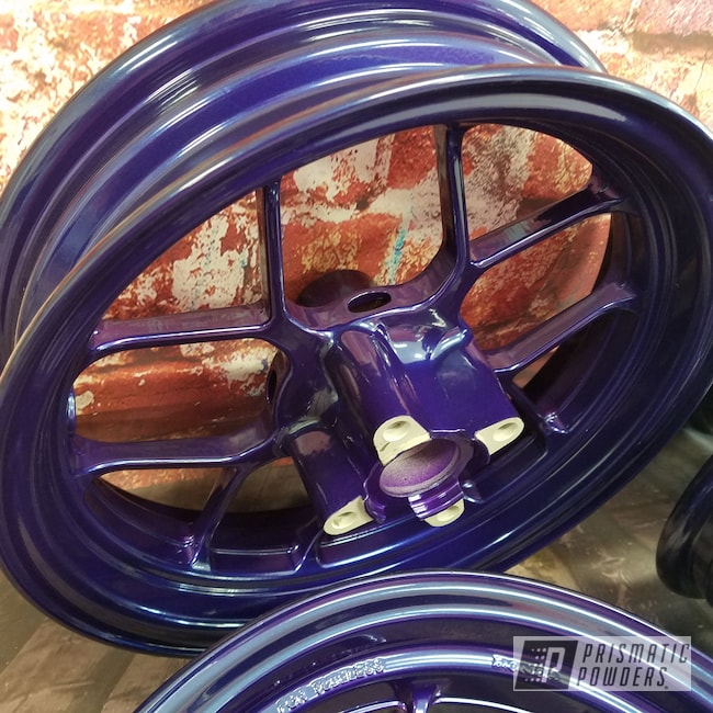 Powder Coating: Wheels,SUPER CHROME USS-4482,Honda Motorcycle,Honda,Aluminium Rims,Two Color Application,Motorcycles,Majestic Purple PPB-2144