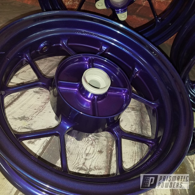 Can You Powder Coat Aluminum >> Aluminum Honda Motorcycle Rims Featuring Majestic Purple And
