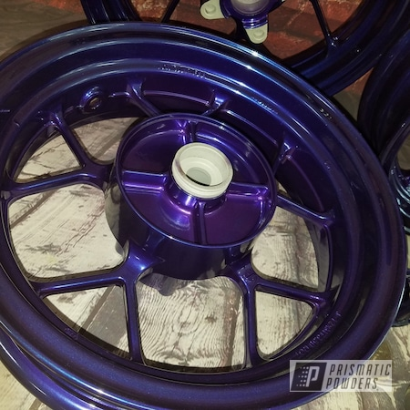 Powder Coating: Wheels,SUPER CHROME USS-4482,Honda Motorcycle,Honda,Aluminium Rims,Two Color Application,Motorcycles,Majestic Purple PPB-2144