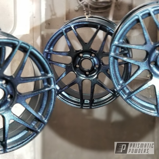 Powder Coating: Wheels,Automotive,Custom Rims,Ink Black PSS-0106,Disco Nights PPB-7055