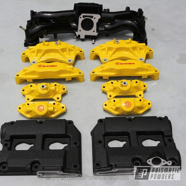 Powder Coating: Splatter Black PWS-4344,Automotive,Ink Black PSS-0106,Brembo,Multi Powder Application,Hot Yellow PSS-1623,Custom Brake Calipers