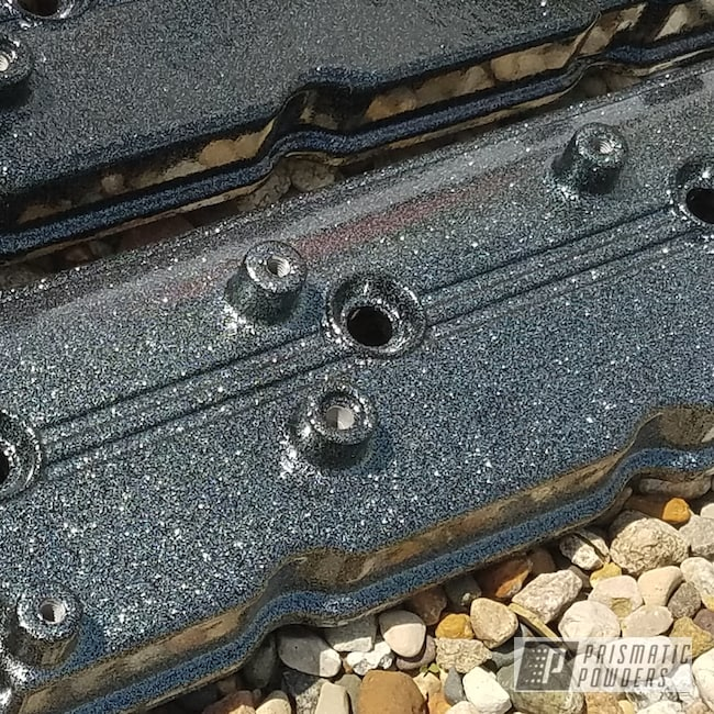 Powder Coating: Disco Pewter PPB-7050,Automotive,Valve Covers,Ink Black PSS-0106,Disco Clear