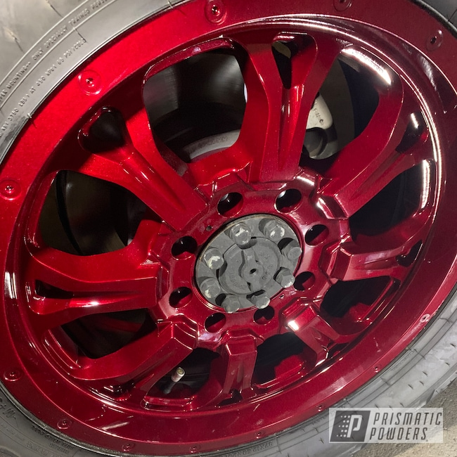 Powder Coating: Wheels,Illusion,Automotive,Clear Vision PPS-2974,20'',Ruby Red,Illusion Cherry PMB-6905,Advan Racing Wheels,Ford,F350