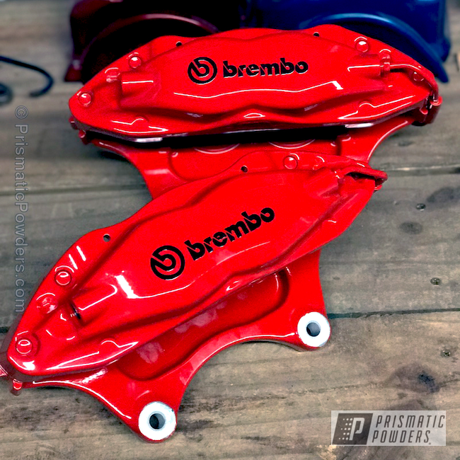 Powder Coating: Automotive,Clear Vision PPS-2974,Really Red PSS-4416,Custom Powder Coated Automotive Parts,Brake Calipers,Brembo Brakes