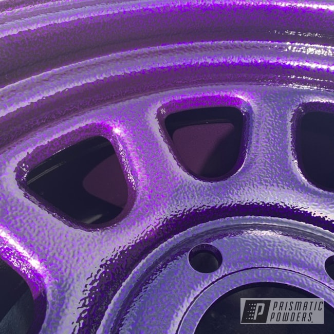 "Powder Coating: Wheels,Automotive,15"",Black Frost PVS-3083,Lollypop Purple PPS-1505,Purple wheels"