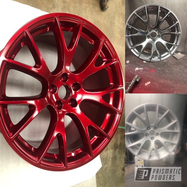 "Powder Coating: Wheels,Automotive,SUPER CHROME USS-4482,Prismatic Powders Wheels,Dodge,#absolutepowdercoating,#newmexicotrue,Challenger,Wizard Red PPS-4690,Powder Coating Wheels,Aftermarket,20"" Wheels"