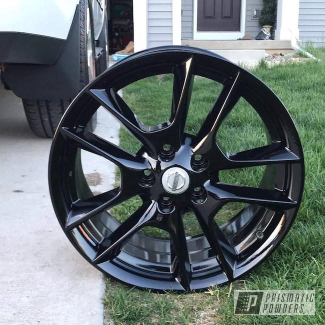 "Powder Coating: Wheels,Automotive,Nissan,GLOSS BLACK USS-2603,17"" Wheels,Solid Tone"
