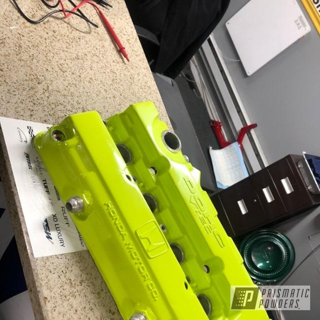 Powder Coating: Automotive,Chartreuse Sherbert PSS-7068,Honda,Valve Cover,Automotive Parts