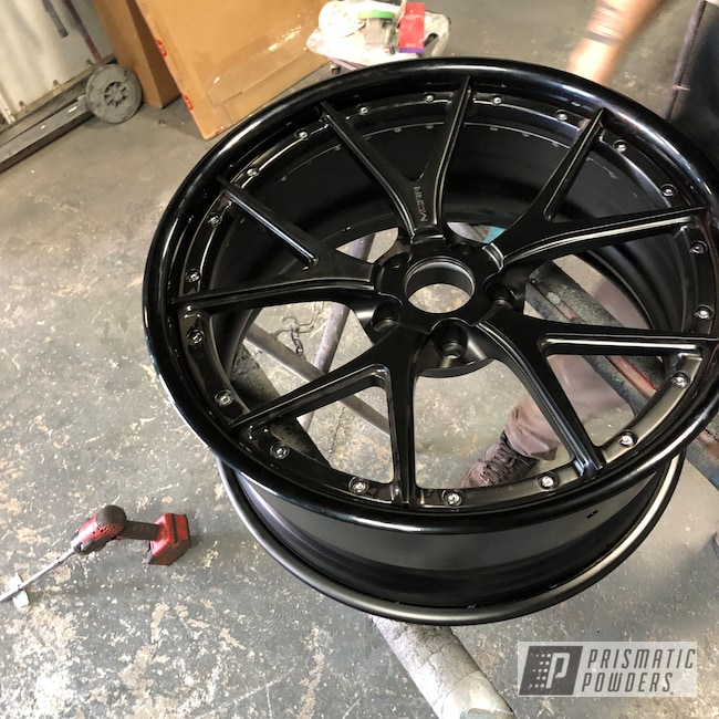 Powder Coating: Wheels,Automotive,Two Piece Wheels,GLOSS BLACK USS-2603,Casper Clear PPS-4005,Astatic Red PSS-1738